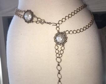 Boho belt,Faux pearl,gold tone,chain belt