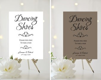 A4/A5 Printed Wedding Sign - PERSONALISED - Dancing Shoes - Flip flops