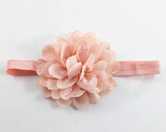 Peach Headband, Peach Flower Girl Headband, Peach Clip, Peach Lace Headband, Peach Birthday Headband, flower headband, peach baby headband