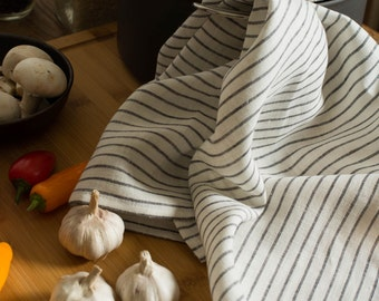 Linen Tea Towel White with Charcoal Stripes