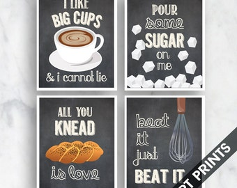 Big Cups, Sugar, Knead Love, Beat it (Funny Kitchen Song Series) Set of 4 Art Prints (Featured in Vintage Chalkboard) Kitchen Art