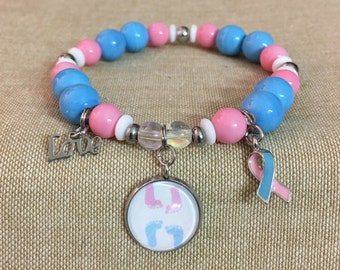 SIDS, Infant Loss, Awareness Stainless Steel Photo Charm w/ Ribbon & Love Charm Beaded Stretch Bracelet