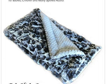 Worlds Softest Minky Cuddle Fur Blanket - Reversible - Gray Tones with Soft Gray Waffle  Minky Cuddle Fur All Sizes and Colors