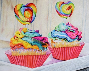 Rainbow Cupcakes, Original Colored Pencil Drawing, Colorful Art 8x11