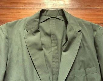 Vintage 60s Campus Sage Green Light Weight Unstructured Sport Coat Blazer 38