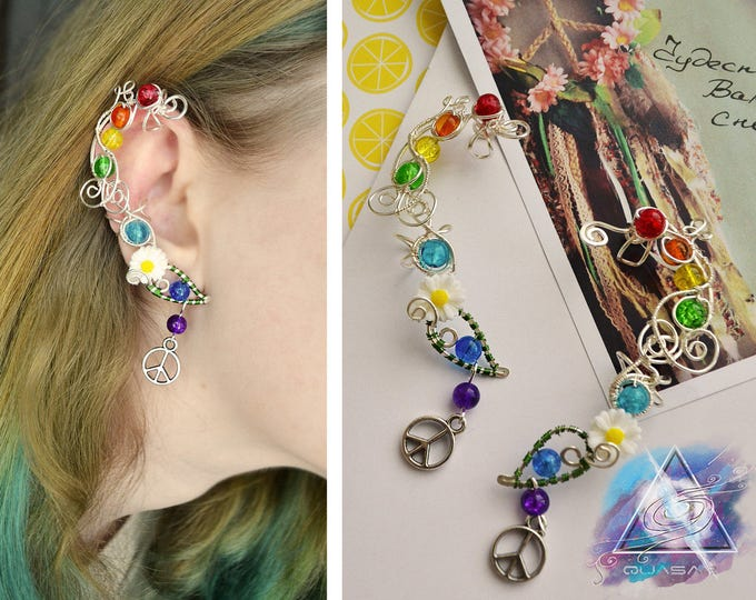 "Ear cuff ""Hippie""| wire ear cuff, hippie style, boho style, boho jewelry, ear cuffs, pacific symbol, yoga, Chakras"