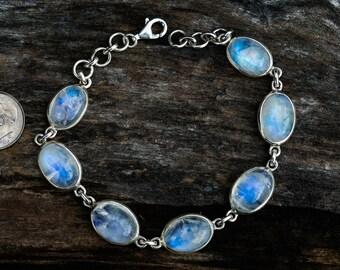 Moonstone 7 stone bracelet - Blue Moonstone bracelet - Gorgeous Blue Rainbow Moonstone bracelet - Moonstone - Blue moonstone