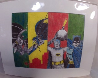 "Batman Throughout The Ages (early years & modern era) - 8""x10"" matted print"