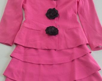 Vintage Lolita Lempicka Pink Skirt Suit - Size 0