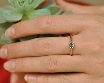 Solitaire Gold Ring , Dainty 14k Gold Ring, Stacking 14k Gold Ring, Gold Green Tourmaline Ring , 14k Yellow Gold Ring , Thin 14k Gold Ring