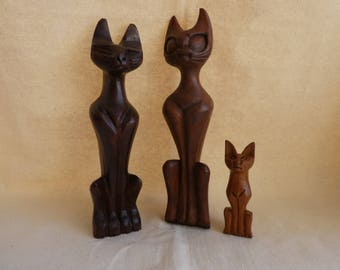 Handsome group of three retro carved wooden cats kitsch mid-century