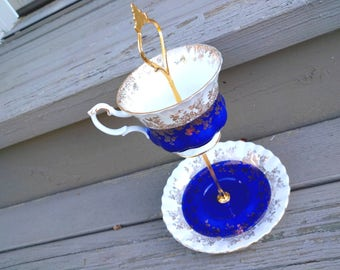 Blue Gold 2 Tier Bone China - Tea Cup Cake Stand Jewelry Holder Upcycled Vintage Tea Sets