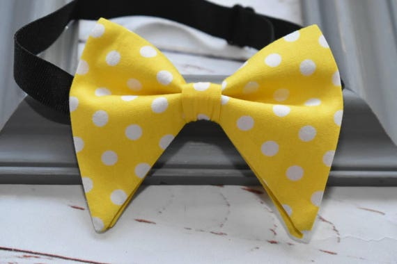 Bright yellow polka dot butterfly / floppy bow tie  for Baby, Toddlers and Boys (Kids Bow Ties) with Braces/ Suspenders