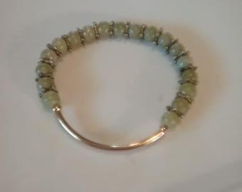 Natural Lemon Jade stretch bracelet.