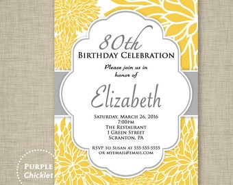 Yellow Flower Invitation ANY AGE 80th Birthday Invitation Surprise Celebration Feminine Invite Yellow Gray White Floral Adult Party 319