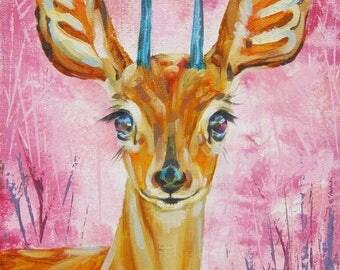 Painting Animals Doe-Original Oil Painting - Animals,  For Wall, Fun Art