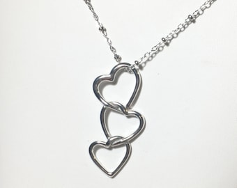 Heart Necklace, Sterling Silver Interlocking Heart Pendant, I Love You, Today, Tomorrow, Forever, Gift for Her