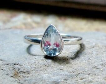 25% OFF 14K Gold Aquamarine 7x5mm Pear Gemstone Ring, Tear Drop Engagement, March Birthstone