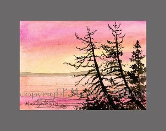 ORIGINAL ACEO - LAKE Scene; sunrise, nature, wilderness, trees, artist's trading cards, miniature art, watercolor,