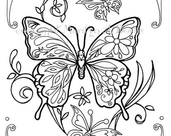 ADULT COLORING PAGE; butterflies, digital download, also for older children, Zentangle, original art, pen and ink,