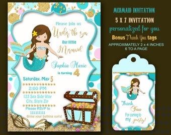 Mermaid invitation, under the sea invitation, Mermaid birthday party, Mermaid party, pool party