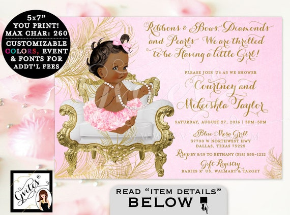 Pink and Gold Baby shower invitations, African American ribbons bows diamonds and pearls, vintage, girl tutu invite, digital file, 5x7.