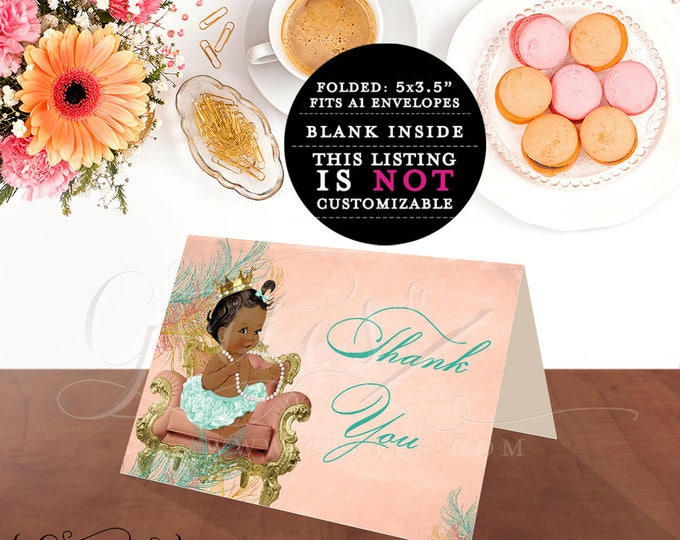 African American Thank You Cards, Baby Girl Baby shower, ethnic baby shower, vintage coral mint green, ribbons bows pearls, princess.
