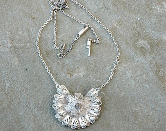 Silver Filigree Flower Necklace Vintage