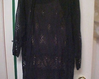 Vintage 1920's Navy Blue Chiffon Lace Dress/Slip-Size M-SOLD AS IS