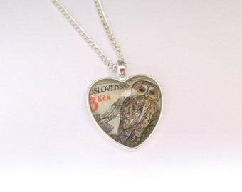 Owl heart necklace: vintage postage stamp jewellery. Silver plated, nickel free, 24 inch chain. Gift for girlfriend, best friend, sister.