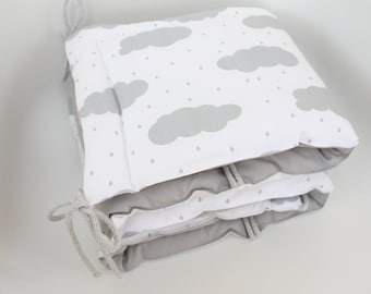 Cot Bumper, Clouds Bumper, Grey Bumper, Grey and White, Half Cot Bumper, Crib bumper