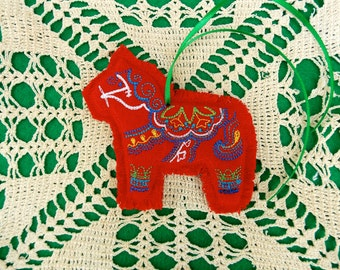Colorful Swedish Dala Horse Style Christmas ~ Holiday ~ Gift Ornament Machine Embroidered on Reclaimed Red Linen