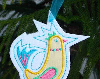 Christmas ~ Holiday ~Gift ~ Wreath ~ Easter Ornament Machine Embroidered Appliqued Bird on Reclaimed Linen in Yellow, Blue, Green & Pink