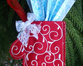 Christmas ~ Holiday~ Wreath ~ Decoration ~ Ornament Machine Embroidered Mitten on Red Reclaimed Linen