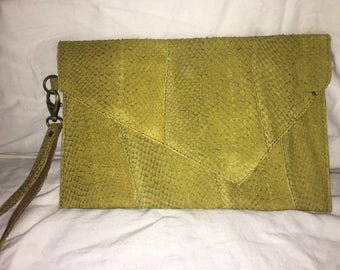 Salmon Leather Clutch- Chartreuse