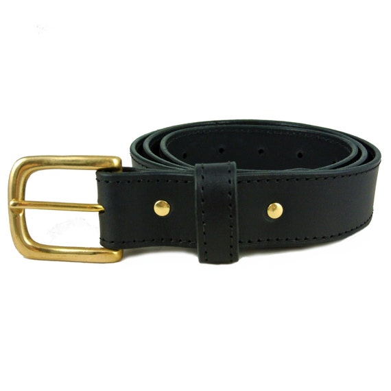 black vegetable tanned leather belt
