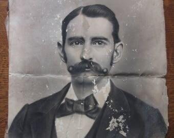 Morris Douglas Cunningham.  Large Antique Photo, Large Studio Portrait,Man,Men,Wall Hanging,Black & White,Curly Moustache,Vintage Photograph