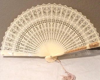 Folding Fan Fish  and Birds Vintage Celluloid Fan Gold accent Chinese Hand Fan Plastic Carved Lace Look Bone Cream 1950s Lace