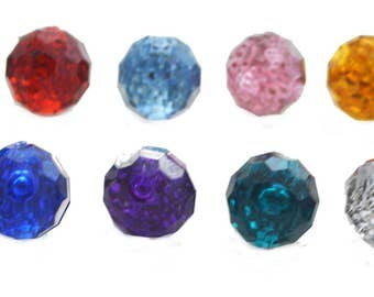 20 PC Colored Diamond Acrylic Sewing Supplies Buttons Round Faceted 12mm Beads