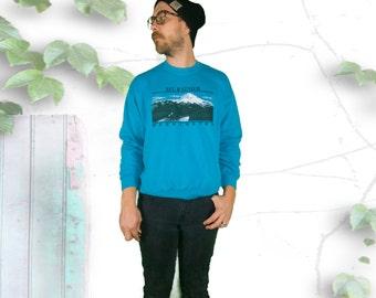 Teal Mt. Rainer Washington 80's Sweatshirt