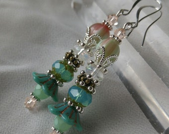 Turquoise Czech Glass Floral Earrings