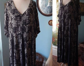 VTG 90's grunge Pearls maxi dress India rayon XL drape polkadot floral black