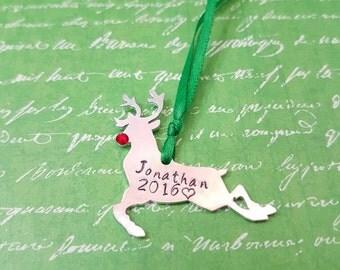 Reindeer personalised name and date Hand stamped Christmas Tree ornament keepsake