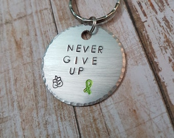 Never Give Up Cancer hand stamped Keychain with custom color awareness ribbon and boxing gloves