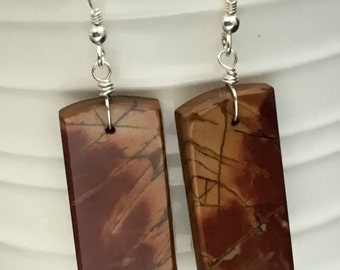 Red Creek Jasper Earrings,Long Gemstone Slice Earrings, Gemstone Slab Earrings, Earrings under 25