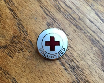 Vintage US American Red Cross Volunteer Enamel Badge Pin ARC