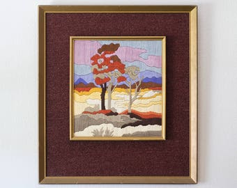 Crewel Embroidery Wavy Scenic Dreamy Landscape with Trees // Pastel Soft Pink Clouds // Double Carpet Frame
