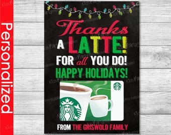 Thanks A Latte Printable, Christmas Gift Card Holder, Teacher Christmas Gifts,  Coffee Gift Card Holder, Preschool Coach Nurse Daycare Idea