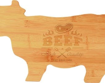 Cutting Board/Cow Shape Cutting Board/Cheese Board/House Warming Gift/Personalized Bamboo Cutting Board/Wedding/Restaurant/Chef/Catering