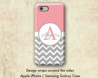 iPhone 6 Case, Coral Polka Dot iPhone 6s Case, Monogram iPhone Case, iPhone 6 Plus Case, iPhone 7 Case, iPhone 7 Plus Case, Monogram Gift